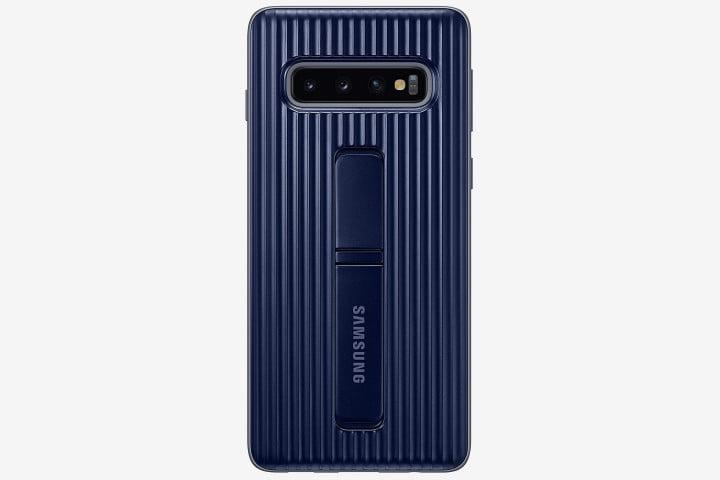 Screenshot of Samsung Galaxy S10 phones with a dark blue official Samsung Standing Cover
