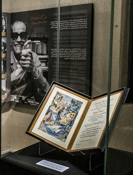 The author's Nobel certificate on display in a glass case at his museum in the Egyptian capital (AFP Photo/Khaled DESOUKI)