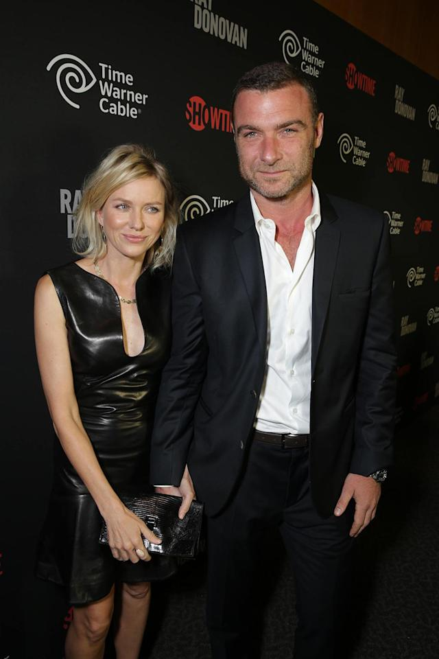 Naomi Watts and Liev Schreiber arrive at the Showtime premiere of the new drama series Ray Donovan presented by Time Warner Cable, on Tuesday, June, 25, 2013 in Los Angeles. (Photo by Eric Charbonneau/Invision for Showtime/AP Images)