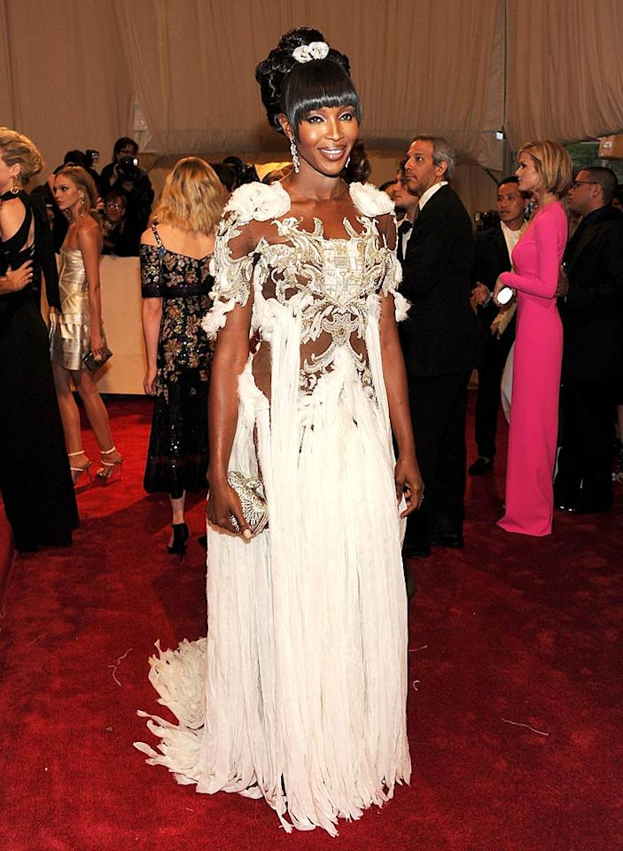 "Supermodel Naomi Campbell's hideous hairdo and over-the-top Alexander McQueen gown undoubtedly made her one of the worst dressed of the night. Larry Busacca/<a href=""http://www.gettyimages.com/"" target=""new"">GettyImages.com</a> - May 2, 2011"