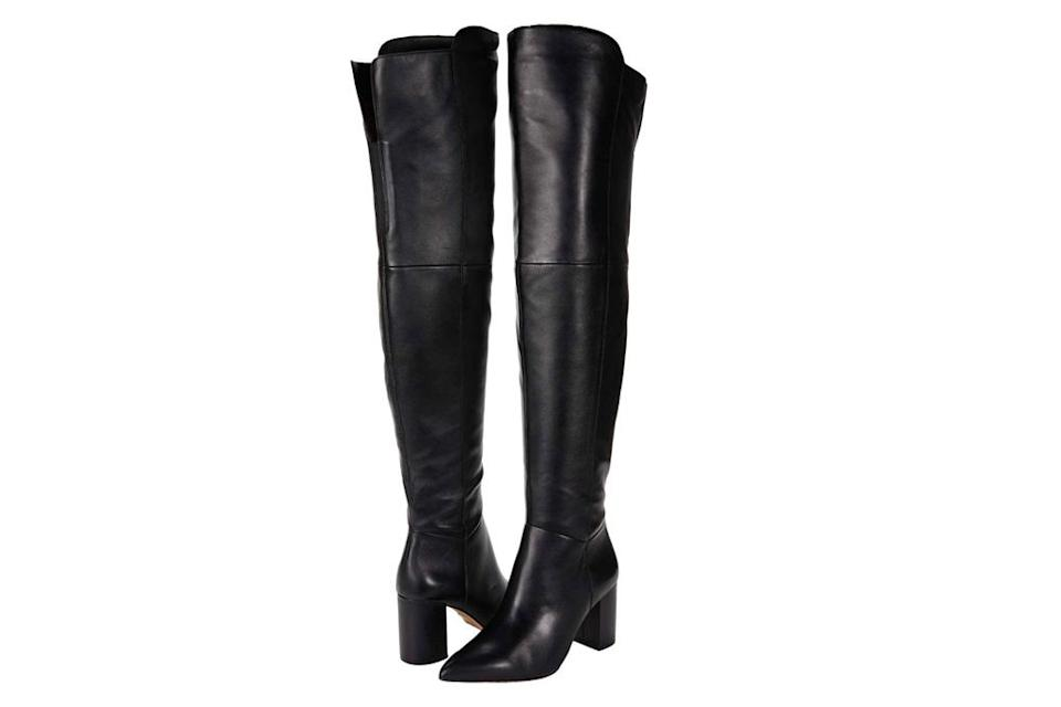 black boots, thigh high, leather, louise et cie