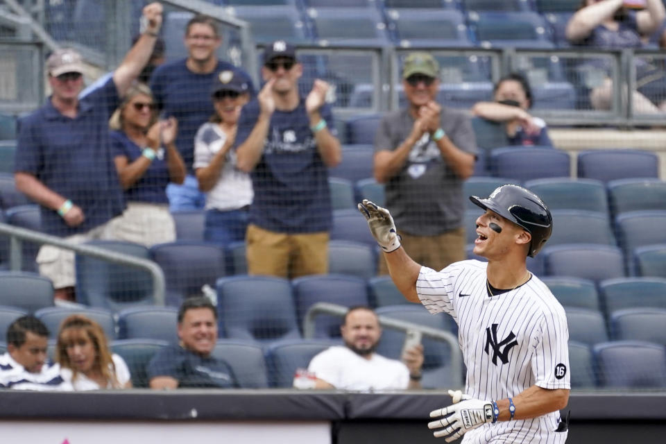New York Yankees' Andrew Velazquez runs the bases after hitting a solo home run in the eighth inning of a baseball game against the Minnesota Twins, Saturday, Aug. 21, 2021, in New York. (AP Photo/Mary Altaffer)