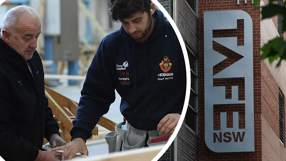 Image of student sawing wood with teacher and Tafe NSW building and logo