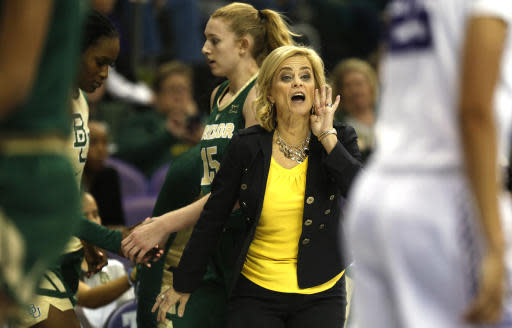 Baylor head coach Kim Mulkey calls to her players as they play against TCU during the second half of an NCAA college basketball game Saturday, Jan. 12, 2019, in Fort Worth, Texas. (AP Photo/Ron Jenkins)