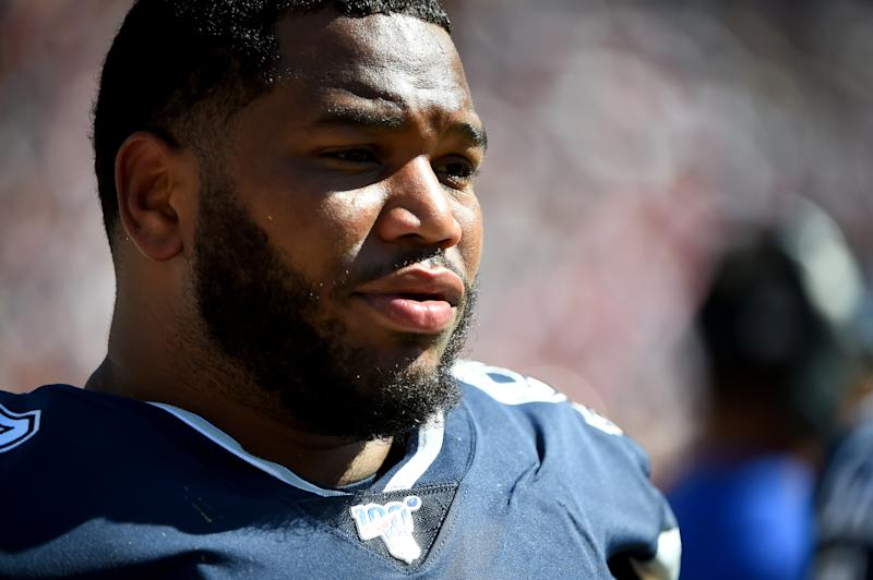 LANDOVER, MD - SEPTEMBER 15: Antwaun Woods #99 of the Dallas Cowboys looks on from the sideline during the second half against the Washington Redskins at FedExField on September 15, 2019 in Landover, Maryland. (Photo by Will Newton/Getty Images)
