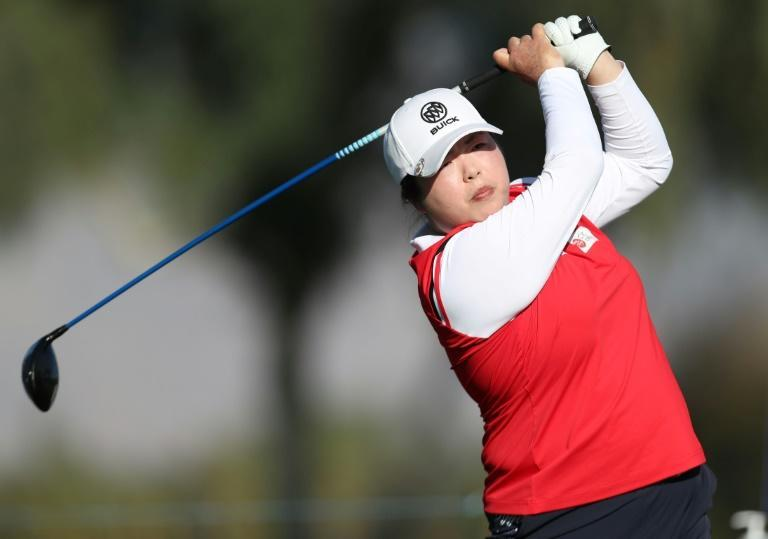 China's Feng Shanshan on the way to a share of second place after the first round of the ANA Inspiration, first LPGA major championship of the year
