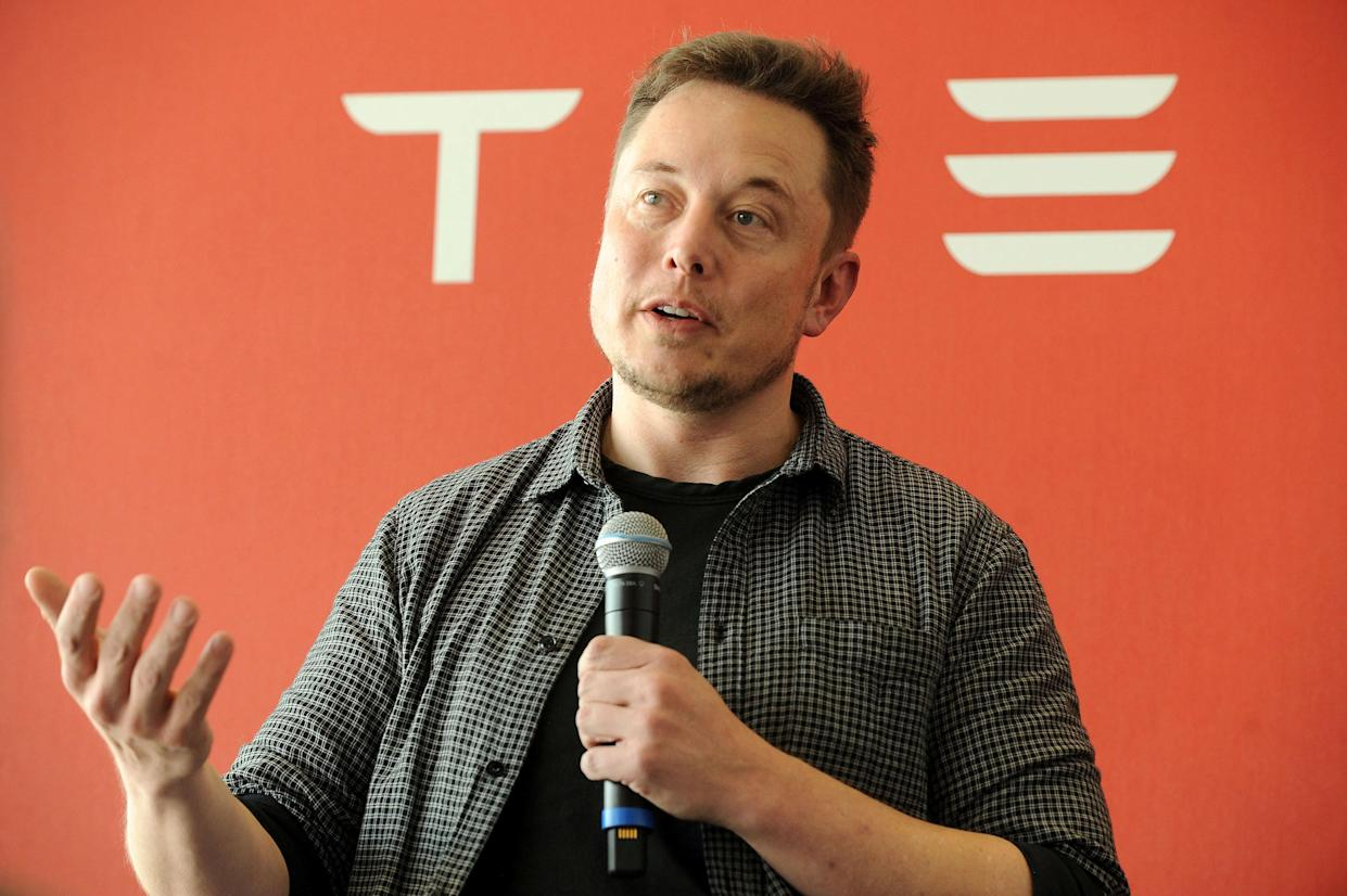 FILE PHOTO: Founder and CEO of Tesla Motors Elon Musk speaks during a media tour of the Tesla Gigafactory, which will produce batteries for the electric carmaker, in Sparks, Nevada, U.S. July 26, 2016. REUTERS/James Glover II/File Photo