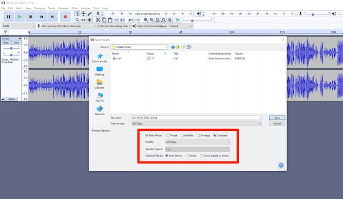 For best results, save your file as a constant bitrate MP3 at 192 kbps or higher.