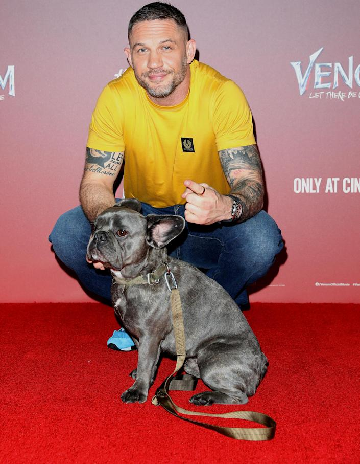 <p>Tom Hardy and his dog Blue attend the fan screening of <em>Venom: Let There Be Carnage</em> at Cineworld Leicester Square on Sept. 14 in London.</p>
