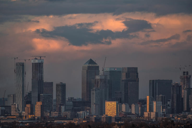 LONDON, ENGLAND - MARCH 18: A view over the City of London Skyline at sunset on March 18, 2019 in London, England. (Photo by Dan Kitwood/Getty Images)