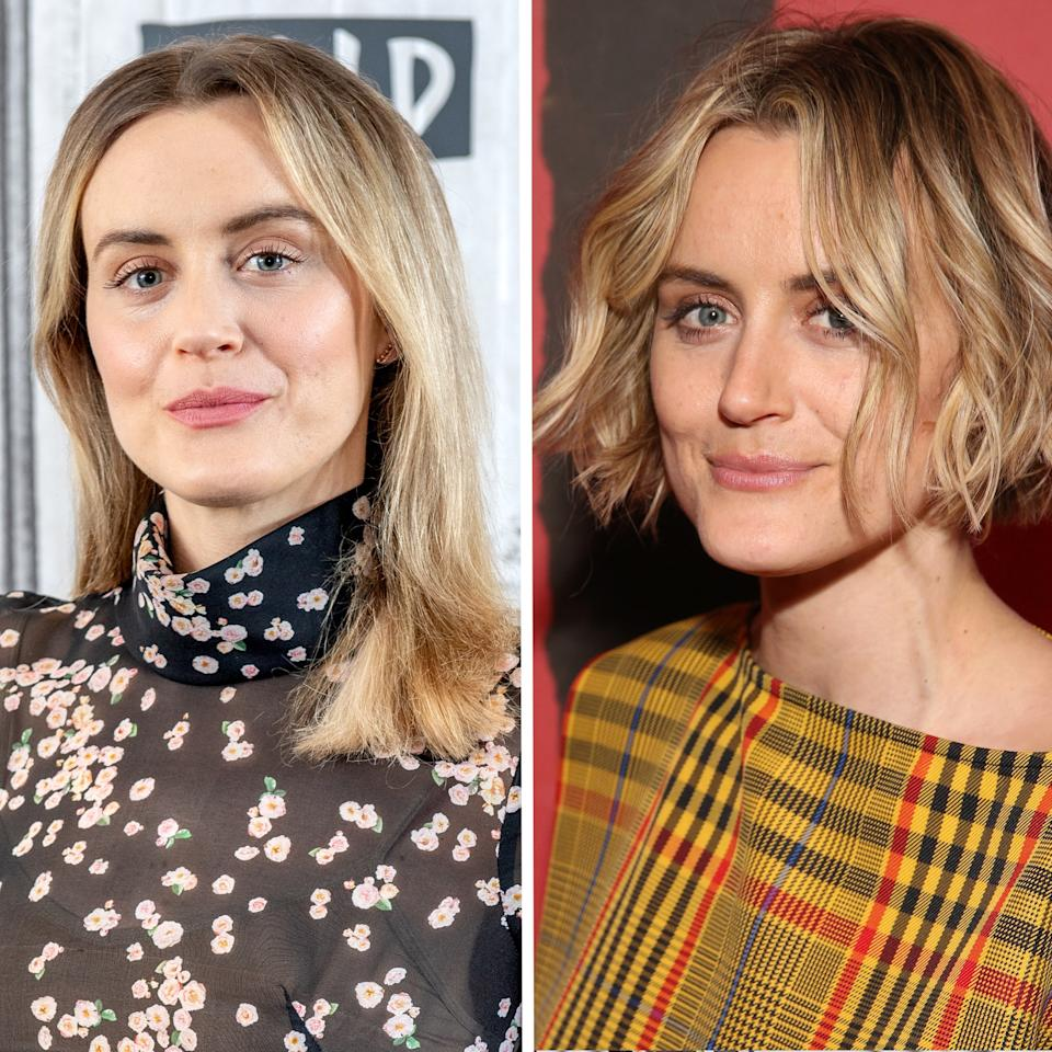 """For years, Taylor Schilling has kept her hair in a medium-length lob style. Thanks to stylist Ryan Trygstad, she's made the jump to a chin-length bob —and found the style she was born to wear. She's already worn the clearly versatile look <a rel=""""nofollow"""" href=""""https://www.instagram.com/p/BwW-J5FnLNs/"""">both tousled</a> and <a rel=""""nofollow"""" href=""""http://cdn01.cdn.justjared.com/wp-content/uploads/headlines/2019/04/gabrielle-union-taylor-schilling-premiere-the-public-in-nyc.jpg"""">slicked back and straight</a>. Schilling's new look is proof that just a few inches really can make a major difference."""
