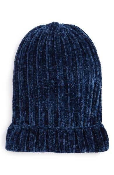 The softness of this <span>chenille beanie</span> will easily slide right over your head without messing up any style you have.