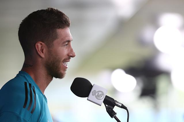 Soccer Football - Champions League - Real Madrid Press Conference - Real Madrid City, Madrid, Spain - May 22, 2018 Real Madrid's Sergio Ramos during the press conference REUTERS/Sergio Perez