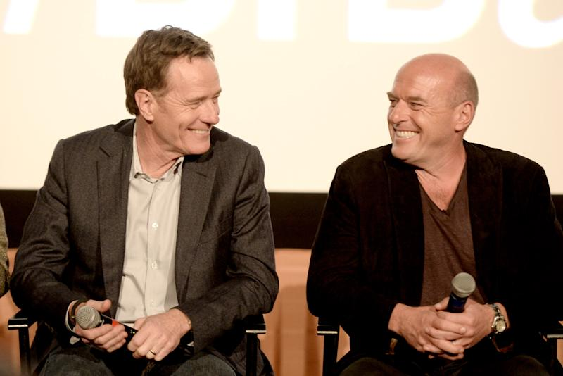 "LOS ANGELES, CA - NOVEMBER 25: Actors Bryan Cranston (L) and Dean Norris speak at a Q & A session after a screening of ""No Half Measures: Creating The Final Season Of Breaking Bad"" at the The Grove's Pacific Theatre on November 25, 2013 in Los Angeles, California. (Photo by Kevin Winter/Getty Images)"