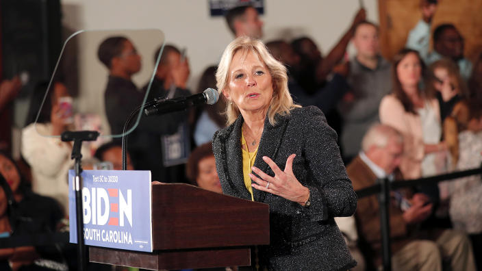 Jill Biden, wife of Democratic presidential candidate former Vice President Joe Biden, addresses the crowd before he speaks at a campaign event in Columbia, S.C. on Feb. 11. (Gerald Herbert/AP)