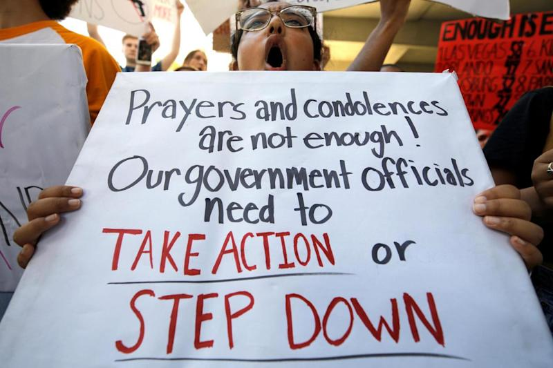 A student protester chants at a rally calling for more gun control three days after the shooting (REUTERS)