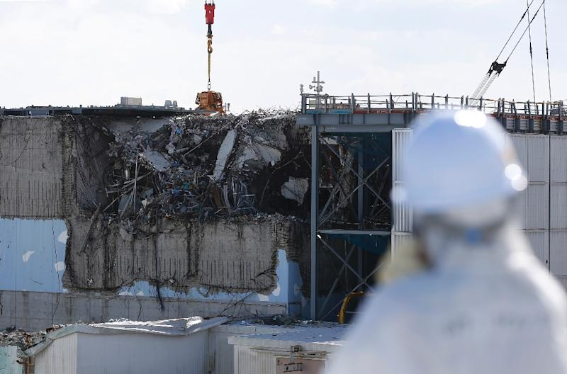 The destroyed reactor three building at Fukushima earlier this year