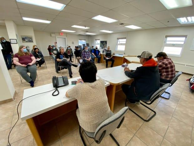 Community leaders and partners in Aklavik, N.W.T. gathered for a flood meeting on Friday, May 21, 2021.