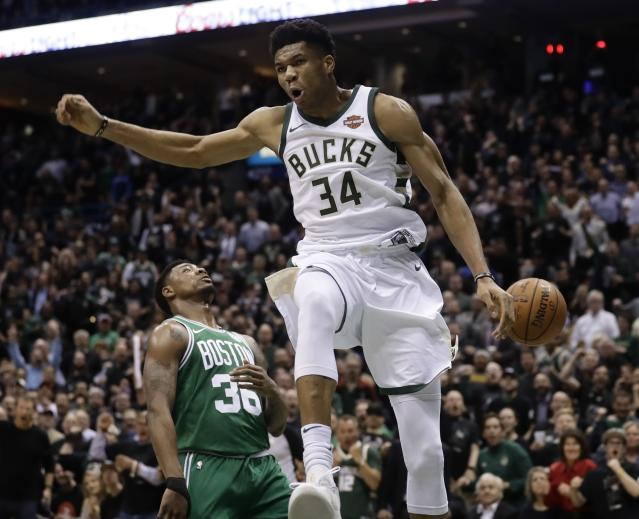 Giannis Antetokounmpo is feeling it after a first-half dunk Thursday night. (AP)