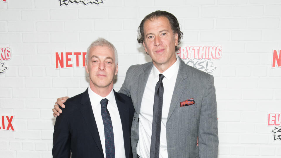 """Jeff Pinkner and Scott Rosenberg attend Netfix's """"Everything Sucks!"""" series premiere on January 31, 2018. (Photo by Noam Galai/Getty Images)"""