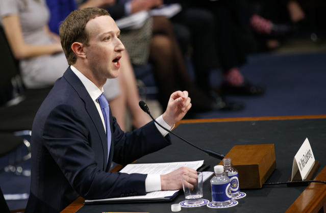 Facebook CEO Mark Zuckerberg testifies before  the Commerce and Judiciary Committees at Capitol Hill on Tuesday. (AP Photo)