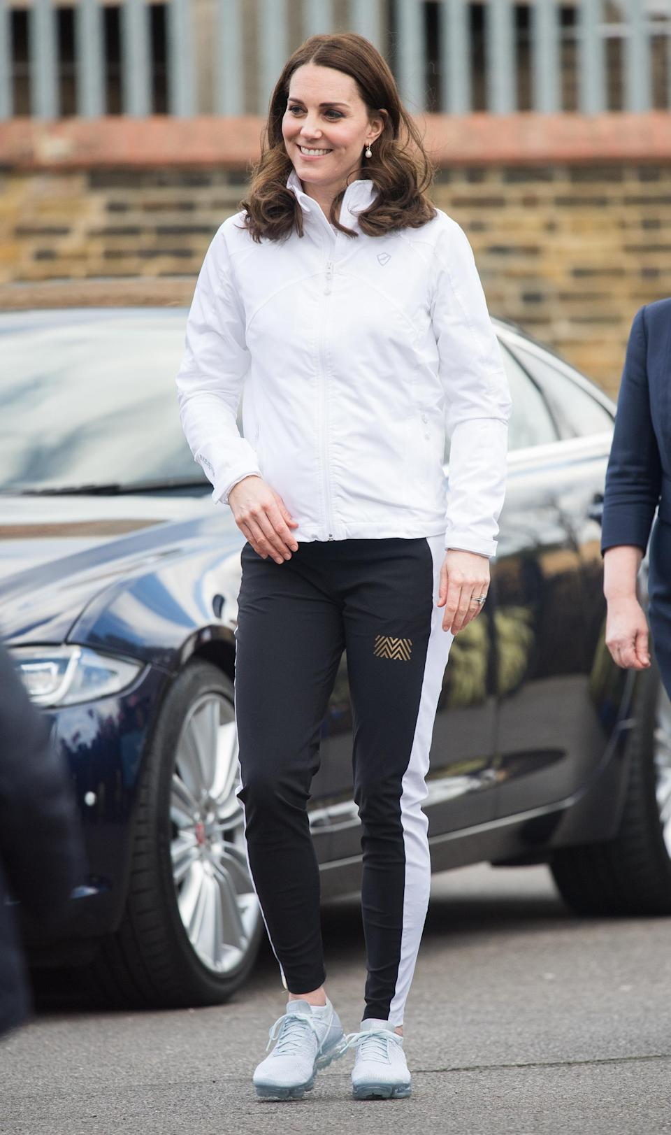 <p><strong>The occassion:</strong> At the Wimbledon Junior Tennis Initiative at Bond Primary School in London. <br><strong>The look:</strong> A white sports jacket by PlayBrave with Monreal tracksuit bottoms, Nike Air VapourMax running shoes and Annoushka Baroque earrings. <br>[Photo: Getty] </p>