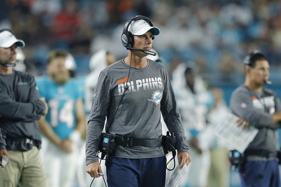 MIAMI, FLORIDA - AUGUST 08:  Offensive coordinator Chad O'Shea of the Miami Dolphins looks on against the Atlanta Falcons during the first quarter of the preseason game at Hard Rock Stadium on August 08, 2019 in Miami, Florida. (Photo by Michael Reaves/Getty Images)