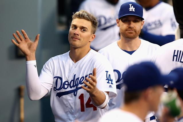 Dodgers utility player Kiké Hernandez had some fun with his walk-up music on Tuesday. (Getty Images)