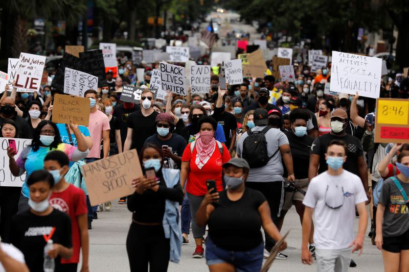 Protesters rally after the death of George Floyd