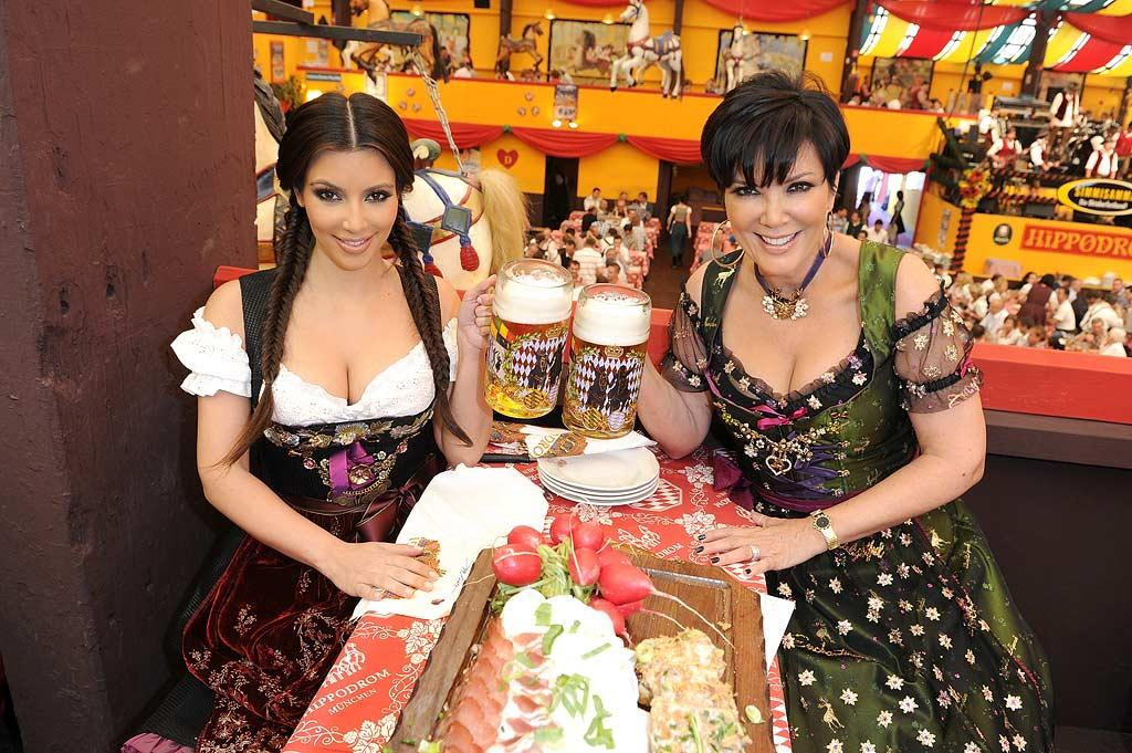 "Kim shared a toast -- and a photo op -- with her mom Kris Jenner, who also rocked a German frock. Think either of them were able to finish their big beers? Toni Passig/<a href=""http://www.wireimage.com"" target=""new"">WireImage.com</a> - September 22, 2010"