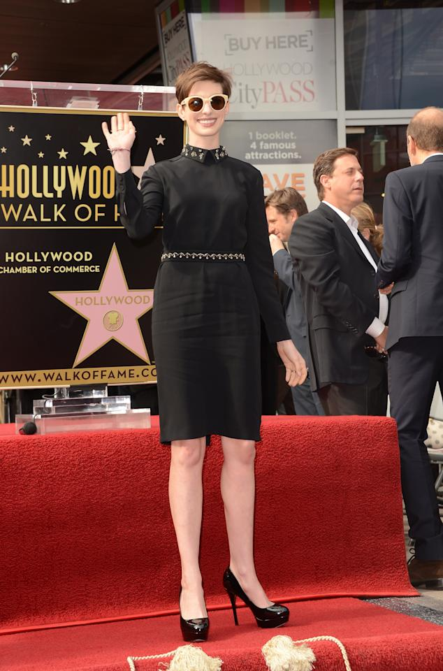 HOLLYWOOD, CA - DECEMBER 13:  Actress Anne Hathaway attends the Hugh Jackman Hollywood Walk Of Fame ceremony on December 13, 2012 in Hollywood, California.  (Photo by Jason Merritt/Getty Images)