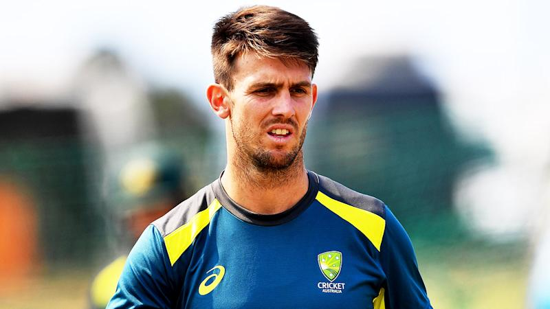 Mitchell Marsh getting ready to bowl in training.