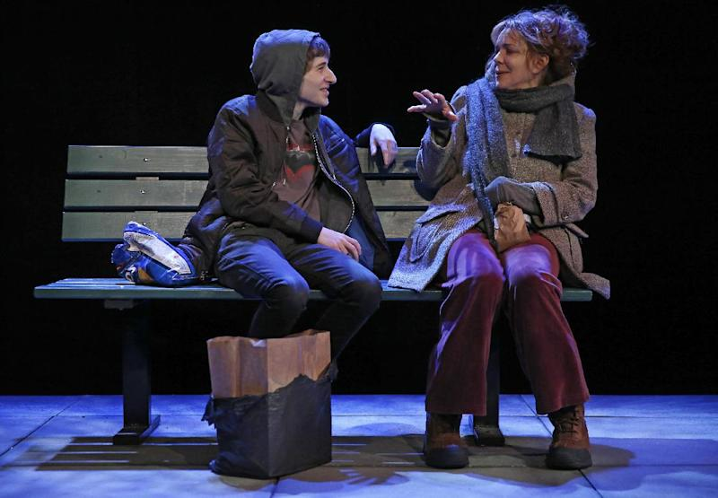 "This theater image released Spin Cycle shows Noah Robbins, left, and Deirde O'Connell during a performance of ""The Vandal,"" at the Flea Theatre in New York. (AP Photo/Spin Cycle, Joan Marcus)"