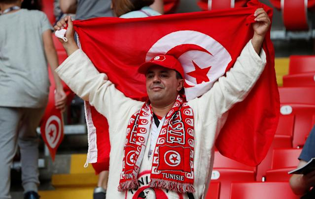 Soccer Football - World Cup - Group G - Belgium vs Tunisia - Spartak Stadium, Moscow, Russia - June 23, 2018 Tunisia fan inside the stadium before the match REUTERS/Grigory Dukor