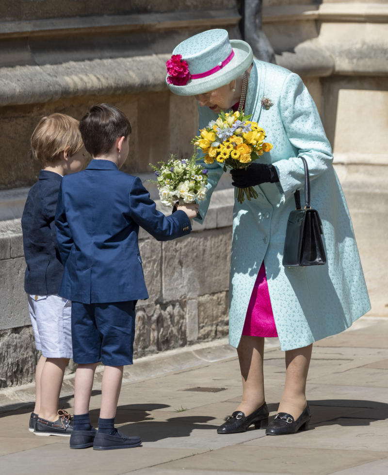WINDSOR, ENGLAND - APRIL 21: Queen Elizabeth II attends Easter Sunday service at St George's Chapel on April 21, 2019 in Windsor, England. (Photo by Mark Cuthbert/UK Press via Getty Images)