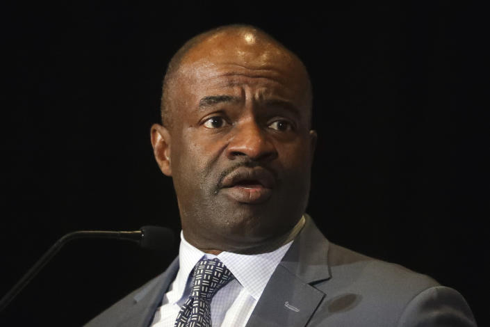 FILE - In this c, NFL Players Association executive director DeMaurice Smith speaks at the annual state of the union news conference in Miami Beach, Fla. The NFL reacted strongly and quickly Friday, Oct. 8, 2021, to a report that Jon Gruden used a racist comment about Smith in an email 10 years ago. A Wall Street Journal story noted that Gruden, then working for ESPN and now coach of the Las Vegas Raiders, referred in a racist way to Smith's facial features. (AP Photo/Chris Carlson, File)