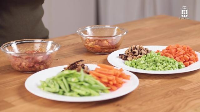 Prepared vegetables and meat for Chinese Fried Noodles and Egg Fried Rice