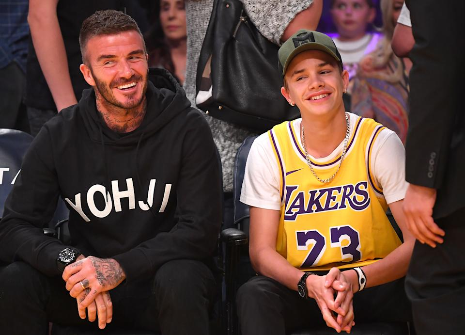 Oct 27, 2019; Los Angeles, CA, USA; David Beckham and his son Romeo, 17 attend the game between the Los Angeles Lakers and the Charlotte Hornets at Staples Center. Mandatory Credit: Jayne Kamin-Oncea-USA TODAY Sports (Photo by Jayne Kamin-Oncea-USA TODAY Sports/USA Today Network/Sipa USA)