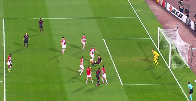 Olivier Giroud somehow found the back of the net from this position. (@FoxSoccer on Twitter)