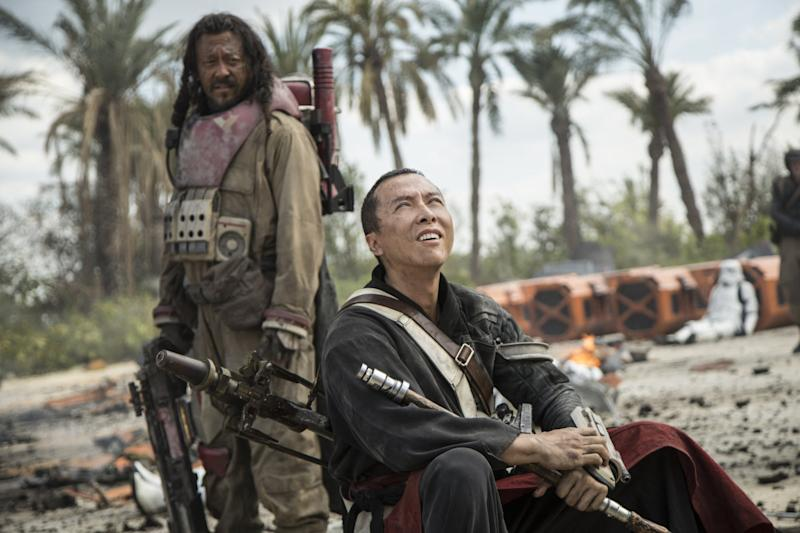 Jiang Wen and Donnie Yen as Jedha natives Baze Malbus and Chirrut Imwe - Credit: Lucasfilm/Disney
