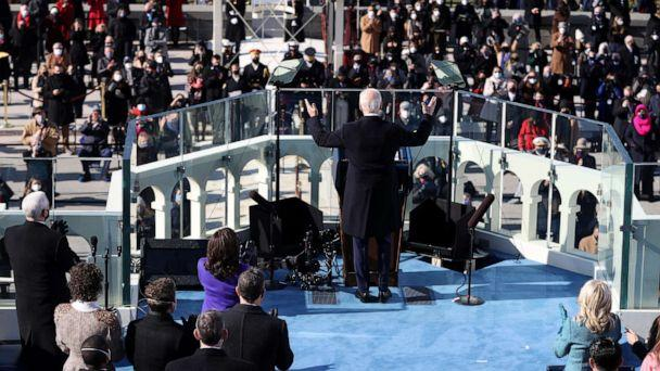 PHOTO: President Joe Biden delivers his inaugural address on the West Front of the U.S. Capitol on Jan. 20, 2021, in Washington. (Tasos Katopodis/Getty Images)