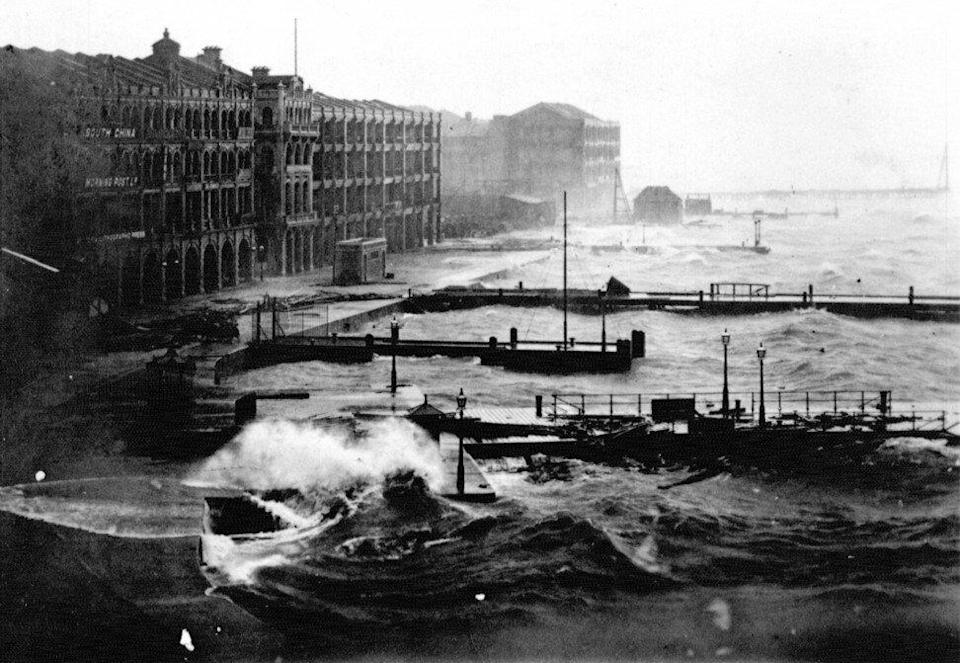 A powerful typhoon made landfall in Hong Kong on 7 September 1906 (before the naming convention on tropical cyclones was adopted), claiming 11,000 lives and running 41 merchant ships ashore. The Central waterfront building that housed South China Morning Post, then three years old, is visible in the photograph's left corner. Photo: Hong Kong Museum of History.