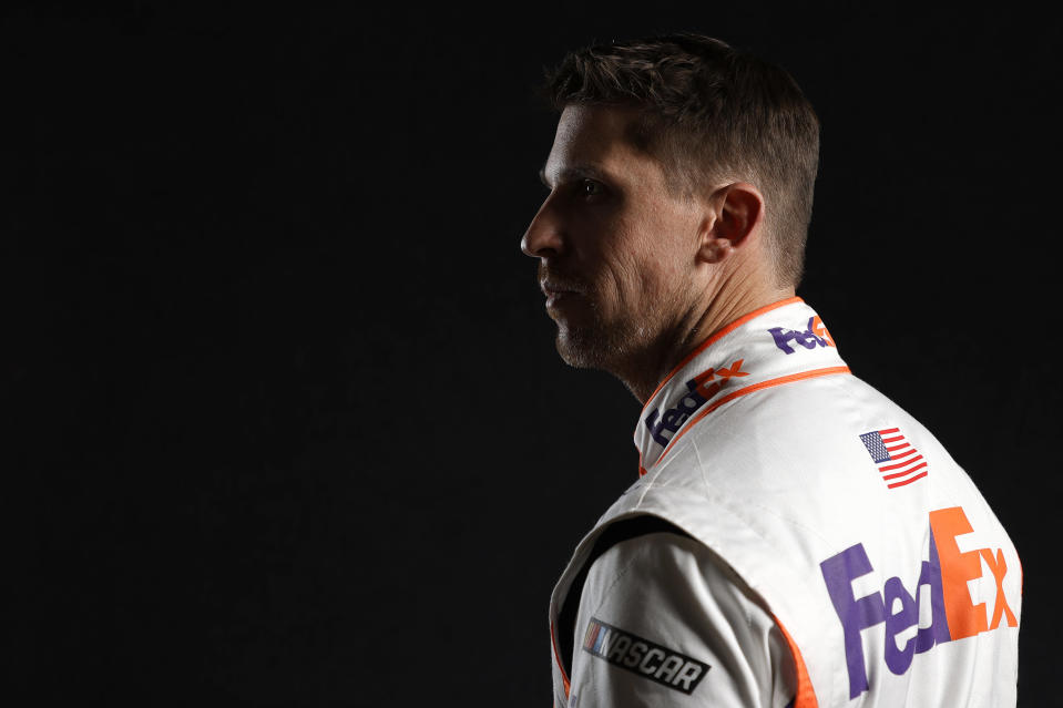 CHARLOTTE, NORTH CAROLINA - JANUARY 19: NASCAR driver Denny Hamlin poses for a photo during the 2021 NASCAR Production Days at FOX Sports Studios on January 19, 2021 in Charlotte, North Carolina. (Photo by Jared C. Tilton/Getty Images) | Getty Images