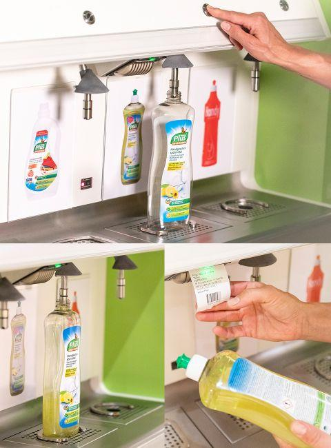 Pictured is a customer pushing the button of the refill detergent station.