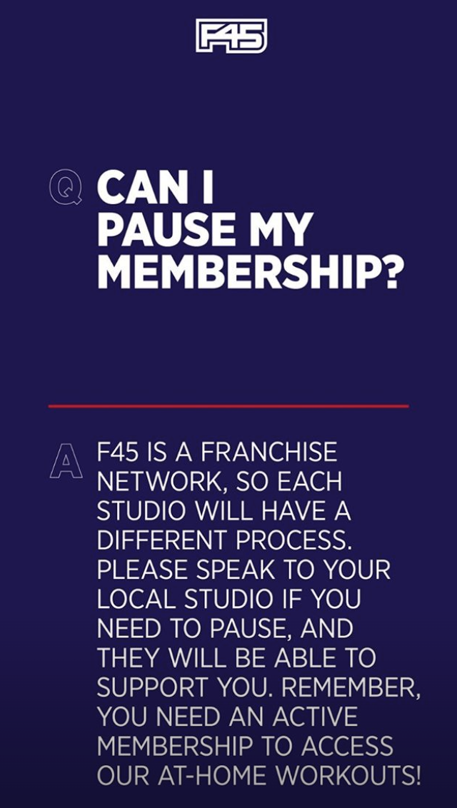 F45 shared this update on their membership pause policy on Sunday. Photo: Instagram/f45_training.
