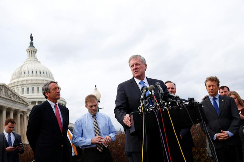 U.S. Rep. Mark Meadows (R-NC) and other members of the House Freedom Caucus hold a news conference on Capitol Hill in Washington, U.S. March 7, 2017. (Eric Thayer/Reuters)