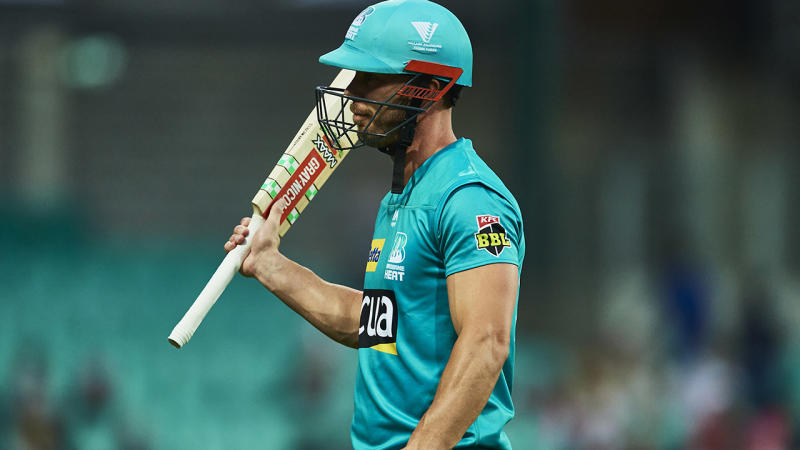 Chris Lynn, pictured here walking from the field after being dismissed.