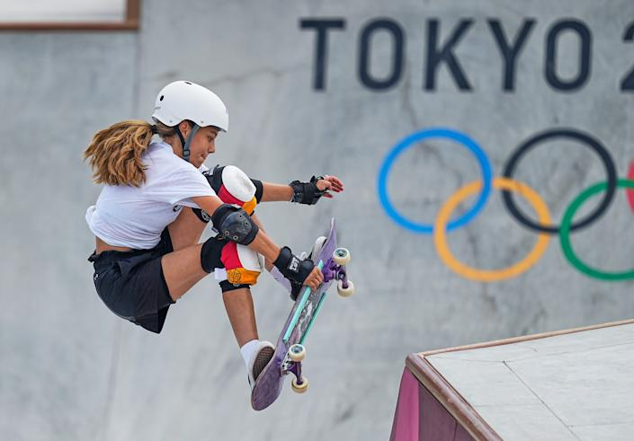 <p>Lilly Stoephasius during women's park skateboard at the Olympics at Ariake Urban Park, Tokyo, Japan on August 4, 2021. (Photo by Ulrik Pedersen/NurPhoto via Getty Images)</p>