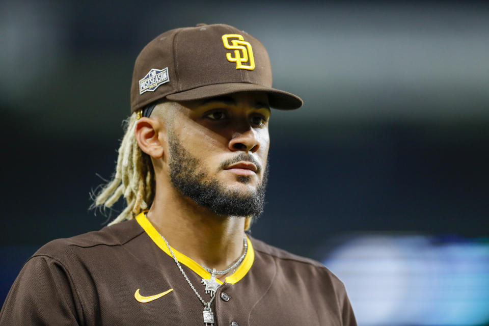 ARLINGTON, TX - OCTOBER 07: Fernando Tatis Jr. #23 of the San Diego Padres looks on in the seventh inning during Game 2 of the NLDS between the Los Angeles Dodgers and the San Diego Padres at Globe Life Field on Wednesday, October 7, 2020 in Arlington, Texas. (Photo by Kelly Gavin/MLB Photos via Getty Images)