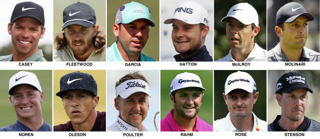 FILE - These 2018 file photos show the members of the European Ryder Cup golf team. They are, top row from left, Paul Casey, Tommy Fleetwood, Sergio Garcia, Tyrrell Hatton, Rory McIlroy and Franceso Molinari. Bottom row, from left, Alex Noren, Thorbjorn Oleson, Ian Poulter, Jon Rahm, Justin Rose and Henrik Stenson. (AP Photo/File)
